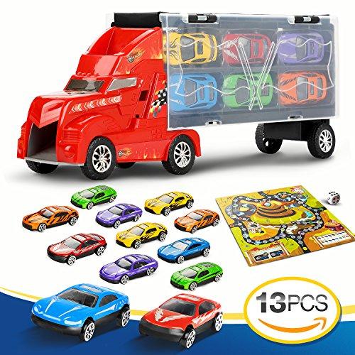 Juguete 12 Lenbest ColoresCada Tiene Dos Camión 3 Total CochesMaletín Para 6 Uno Portacoches Color TransportadorCoches NiñosUn tQhrds