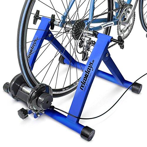 Relaxdays Heimtrainer Fahrrad Rollen - Bicicletas estáticas y de spinning para fitness, color azul, talla STANDARD