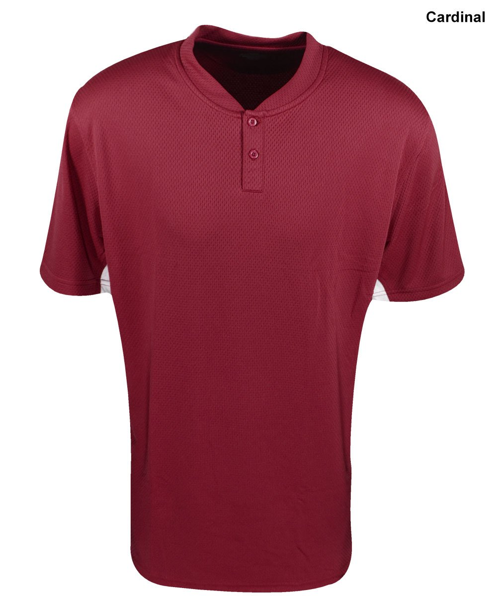 Mizuno Youth 2�Button color block jersey, ragazza Ragazzi, Cardinal, M