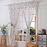 Clode® 145x180cm Eule Print Tüll Tür Fenster Vorhang transparenter Schal Volants (Weiß)