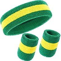 3 Pezzi Fascia Set, Include Sport Fascia per Capelli e Polsino di Sport Cotone a Strisce Bande di Sudore per Atletica Uomini e Donne (Verde e Giallo)