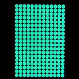 Autoadesivi luminosi 257x punti - Autoadesivi che luminano nel buio, Adesivi per la decorazione ed ornamentazione, Sticker che luminano di notte, Motivi fosforescenti e tatuaggi murali luminescenti (A4 , Verde)