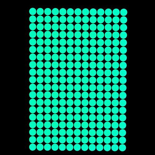 lumentics 257 Leuchtpunkte - Super hell im Dunkeln nachleuchtende Aufkleber. Fluoreszierende Sternenhimmel-Sticker. Selbstleuchtende Kreise für Dekoration und Orientierung. (DIN A4 Bogen, Grün)