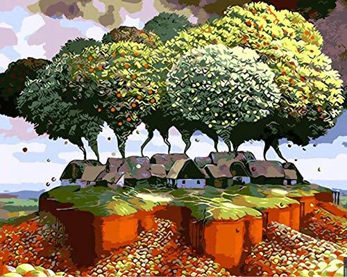 GWYKQ Gerahmt Malen nach Zahlen Bilder auf Leinwand DIY digitales Ölgemälde von Zahlen Dekoration einzigartiges Geschenk Handwerk malen Dream World 40x50cm
