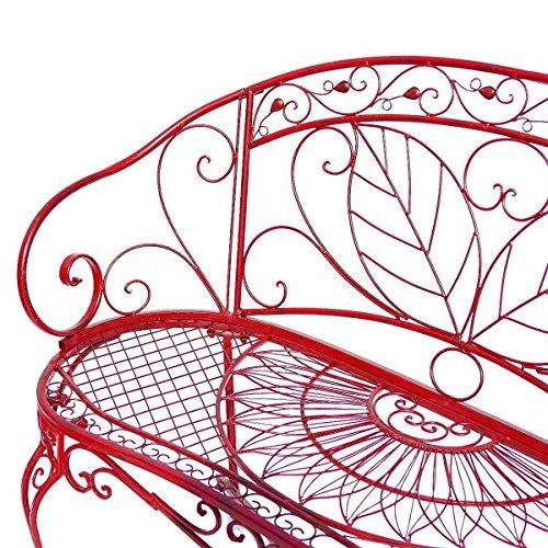 Sitzbank Gartenbank 2er rote Bank mit Blattmuster Terasse Vorgarten Metall - 2