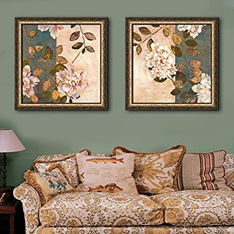 Modylee Ramas y flores Vintage enmarcado lona Videos cuadros decorativos sala dormitorio PCS2 Cuadro en Lienzo , 40*40*2