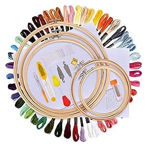 BASEIN Stickerei Starter Kit, Stickerei Set, Kreuzstich Tool Kit Einschließlich 5 Stück Bambus-Hoops, 50 Farbfäden, 12 von 18-Zoll 14 Count Classic Reserve Aida und Nadeln Set