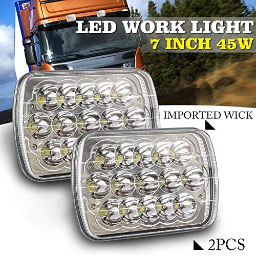 FENNG 2 x 45W 7 Inch LED Arbeitsscheinwerfer IP68 Wasserdicht Offroad Flutlicht Vier Reihen LED Scheinwerfer Arbeitsleuchte Nebelscheinwerfer -