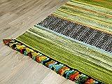 Natur Teppich Bauwolle Kelim Kalleen Grün in 6 Größen