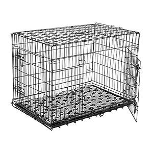 Cage de transport chien pliable fil d'acier 2 portes avec coussin poignée 76L x 53l x 57Hcm noir neuf 32