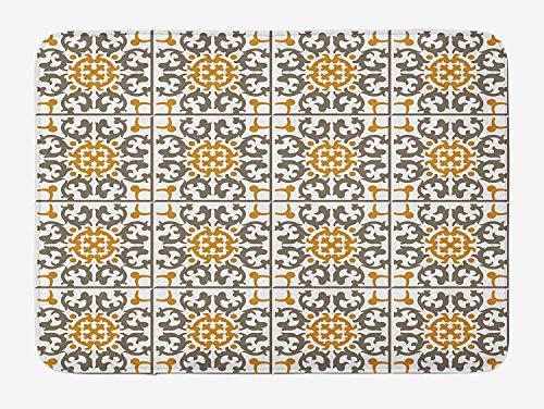 FANCYDAY Türkische Muster-Badematte, pastellfarbene Spiralgeometrie mit Rollendetails, Plüsch-Badezimmerdekormatte, Kaffeeweiß