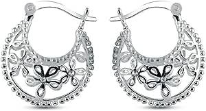 Charmsy Argento Ossidato filigrana cut orecchino ad anello per le donne