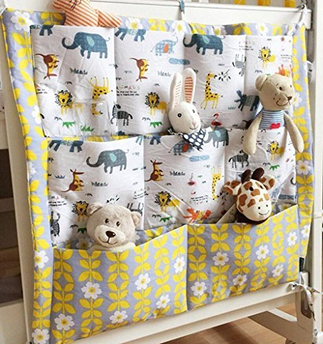 Tia-Ve Kinderzimmer Mehrschichtige Beutel Organizer Baby-Bett Krippe Windeln Spielzeug H?ngender Beutel Aufbewahrung Tasche 55*60CM (Gelb+Grau)