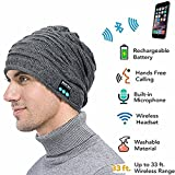 Bluetooth Beanie Mütze, ZHIKE Wiederaufladbare Unisex Wireless Kopfhörer Mütze, Hut Kopfhörer, Bluetooth Winter Hat Stereo Lautsprecher Geschenke für Männer (Grau)