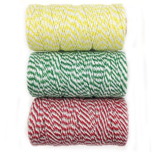 wrapables 12-fach Baumwolle Baker 's Twine für Geschenkverpackungen und Kunst und Handwerk, 110-yard Spule, gelb/dunkelgrün/rot und grau, Set von 3