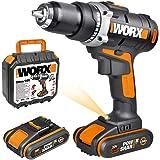 WORX WX183.1 Akkuschrauber 20V - 50Nm, 2-Gang-Getriebe & LED-Licht – Akkubohrschrauber Set zum Bohren & Schrauben - mit…