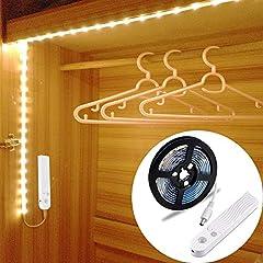 Idea Regalo - Striscia Luminosa LED 1.5m 45LED Flessibile, OriFiil Luce Notte LED Guardaroba con Sensore di Movimento, Batteria Caricata per Armadio,Scale, Corridoio, Cucina, Garage etc-Auto/On/Off (150cm)