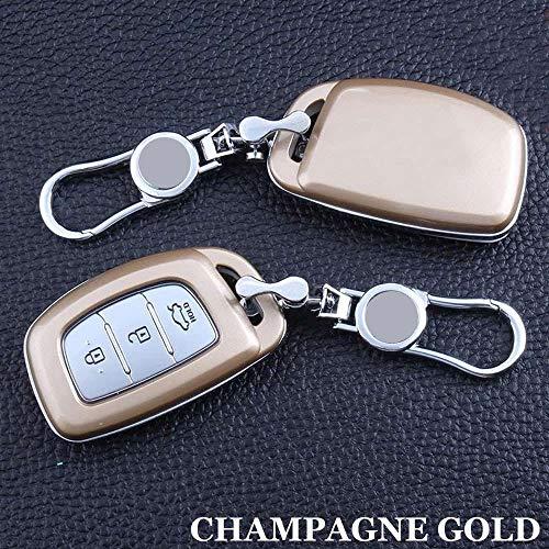 ZYTN Für Fernbedienung Auto Keychain schlüssel Abdeckung case für Hyundai 15 Elantra/Sonata 9 / New Santafe/Verna / 15 16 mistra abs autoschlüssel Shell Set,Gold Gold Sonata