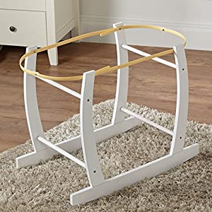 White Deluxe Moses Basket Rocking Stand   1
