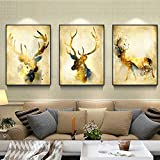 WESEASON Wandkunstdrucke auf Leinwand Abstrakte goldene Hirschbilder malen auf Leinwand Wandbilder Bild für das Home Hotel Büro Studieren Dekoration außerhalb gerahmter 3-Tafeln