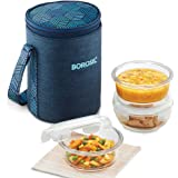Borosil - Food Luck Glass Lunch Box Set of 3, 400ml, Round, Blue, Microwave Safe Office Tiffin