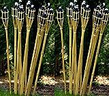 STAR-LINE® 12 Gartenfackel Bambusfackel 90cm Holzfarben mit Docht & Tank