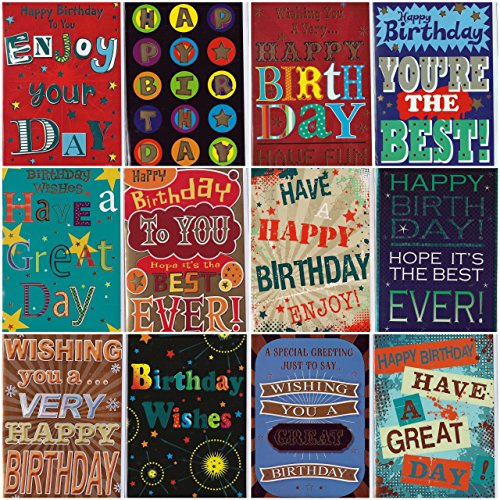Male birthday card amazon selective large fonts trendy design birthday greeting cards envelopes for men pack of 12 bookmarktalkfo Gallery