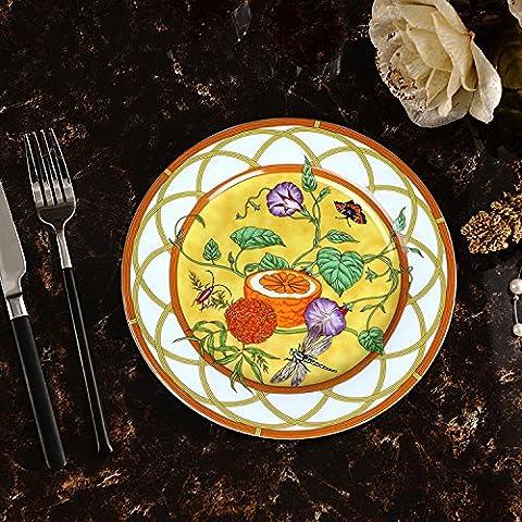 La plaque plat de style européen de haut grade européen bone China Western steak nourriture plat plat casserole en céramique vintage dim sum à gâteau fruits 20.6cm Jaune