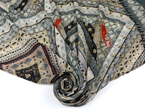 Sciarpa Chiffon Donna - BienBien Pareo Copricostume Mare Copricostumi e Parei Sciarpa Scialle Elegante Foulard Bohemia Etnica Stampato Sarong Bikini Cover up 180 x 100 cm Patern 10