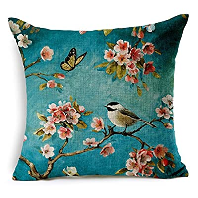 Jinbeile Cotton Linen Throw Pillow Cover Decorative 18 X 18 Inch Oil Painting Flower And Bird Tree Butterfly Cushion Case Home Pillowcase produced by Jinbeile - quick delivery from UK.