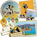 108-teiliges Party-Set * INDIANER YAKARI * für Kindergeburtstag und Motto-Party // mit Teller + Becher + Servietten + Platzsets + Einladungen + Trinkhalme + Luftschlangen + Luftballons