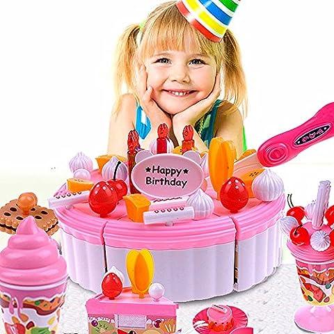 CrazySell 54Pcs DIY Küche Dessert Lebensmittel Spielset Alles Gute zum Geburtstag Tea Party Pretend Kuchen Kit Educational Spielen Toy Sets für Vorschule und (Küche Pretend Spielset)