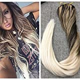 Ugeat 14' #2/12/60 Color Marron con Color Rubio Balayage Clip on Pelo Humano Extensiones 9pcs 120g por Set Brazilian Remy Hair Extensions Clip