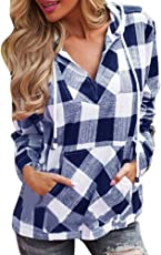 MEIbax Bluse e Camicie Donna Lino/Pullover Donna Invernale Moda/T-Shirt Plaid con Cappuccio/Camicetta Top Maniche Lunghe/Camicia Donna Lunghe