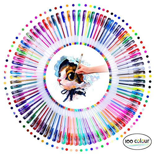 Vorally glitzerstifte Gelschreiber Set bunte Stifte 100 Farben Gelstifte Kugelschreiber für Künsterbedarf, Erwachsene Malbücher, zeichnen, skizzieren, gästebuch hochzeit basteln usw (100)