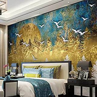 Yzybz Custom Wallpaper 3D Stereo Photo Mural New Chinese Abstract Artística Conception Golden Pine Forest Bird 3D Wallpapers-77