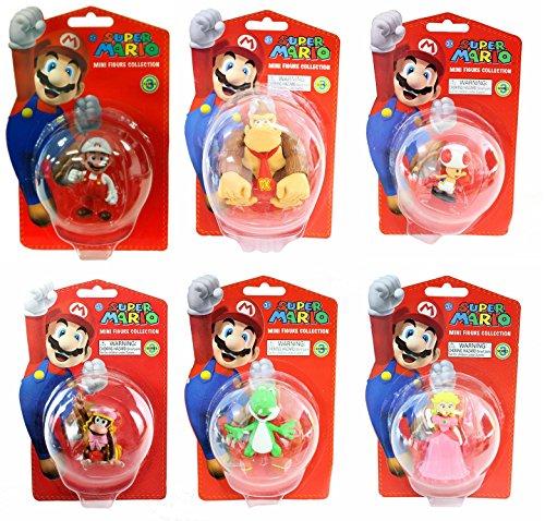 Super Mario 5cm Colección de Mini Figuras Juguete Juego Completo de 6 Piezas Ultra Detalladas - Serie 3 - PAQUETE SEIS Incluye Fire Mario, Yoshi, Princesa Peach, Donkey Kong, Dixie Kong y Sapo - Edades 3