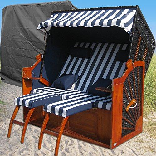 XINRO® XXL Ostsee Strandkorb blau - schwarz gestreift kaufen # wechselbare Bezüge # inkl. Schutzhülle
