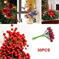Pack of 30 Artificial Red Holly Berry Picks for trees garlands and wreaths