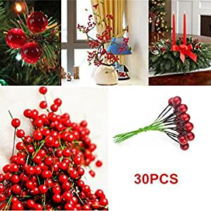 Dingdangbell Artificial Red Holly Berry Pick Branch Wreath For Christmas  Tree Decoration Pack Of 30