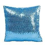 Loolik Fundas de Cojines,Lentejuelas de Lujo Plaza Throw Pillow Case Funda de Almohada para Cojín 40x40 CM (Azul Cielo)