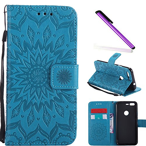 COTDINFOR Google Pixel Protection Case For Girl Elegant Retro Flip Case Wallet PU Premium Leather Magnetic Slim Stand Case Card Holder for Google Pixel Blue Sunflower KT