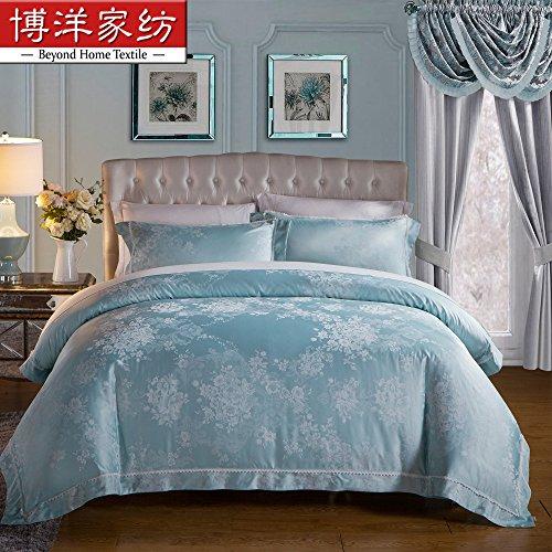 Sammlung ägyptischer Bettwäsche set, langstapelige Baumwolle hypoallergen Blatt,Bettbezug 4 Stück Tröster Set & Kissen Set, grün, Königin
