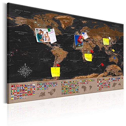 Murando world map with pinboard xxl120x80 cm print on canvas murando world map with pinboard xxl120x80 cm print on canvas beaverboard canvas decorative print on canvas and practical pinboard to pinching gumiabroncs Image collections