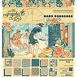 Graphic 45café parisino 8x 8bloc de papel, multicolor