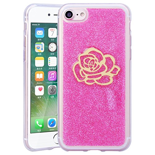 Coque iPhone 7 Plus, HB-Int Housse de Protection Antichoc Silicone Souple Flexible Etui Doux Soft Ultra Léger Protecteur Case Cover pour Apple iPhone 7 Plus avec Motif Amour Rose Fleur Rose