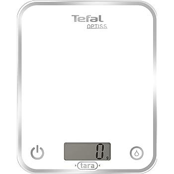 Tefal BC5000V1 Balance de Cuisine Électronique Optiss 5kg/1g Fonction Tare Conversion Liquide Ecran LCD Blanc