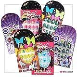 24 Sets Falsche Nägel für Kinder Pre-Glued einzeln verpackt viele Designs Farben