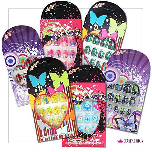 12 Sets Falsche Nägel für Kinder Pre-Glued einzeln verpackt viele Designs Farben