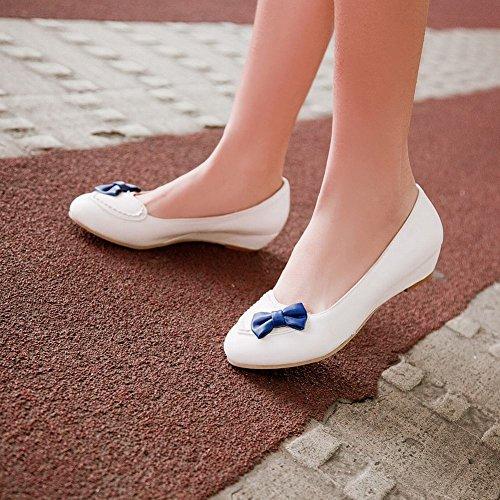 MissSaSa Damen süß und bequem Schleife geschlossen Slipper flach runde Spitze Kleidschuhe Weiß